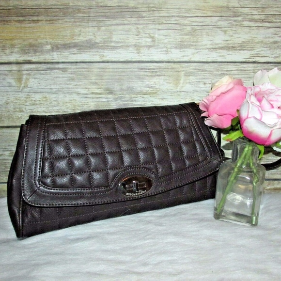 BCBGMaxAzria Handbags - BCBGMaxAzria Brown Quilted Leather Clutch Purse